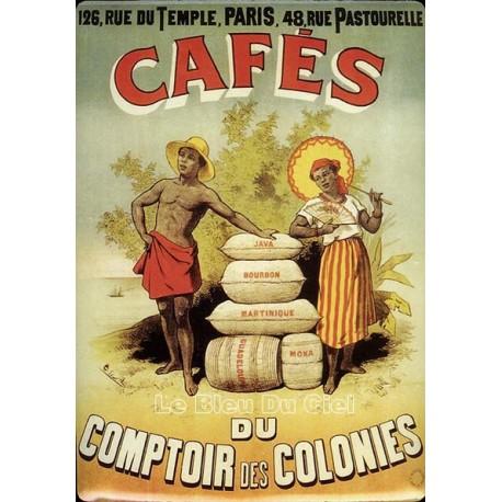 Plaque métal publicitaire 15x21cm bombée :  Cafés des colonies.