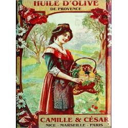Plaque métal publicitaire 15x21cm bombée : Huile d'Olive Camille & César.