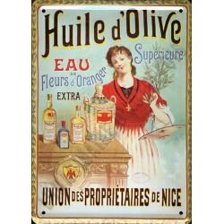 Plaque métal publicitaire 15x21cm plate : Huile d'Olive de Nice.