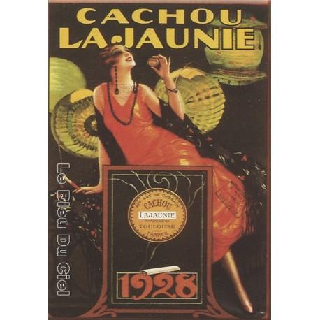 Plaque métal publicitaire 15x21cm bombée :  Cachou Lajaunie.
