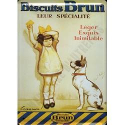 Plaque métal publicitaire 15x21cm bombée : Biscuits Brun