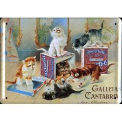 Plaque métal publicitaire 15x21cm bombée : Galletas Cantabria.