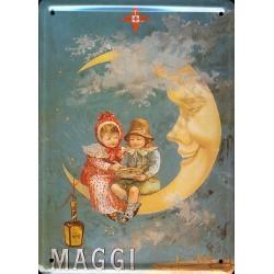 Plaque métal publicitaire 15x21cm bombée : MAGGI lune