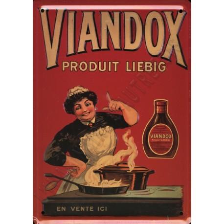 Plaque métal publicitaire 15x21cm plate : Viandox Liebig.