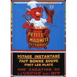 Plaque métal publicitaire 15x21cm bombée : Potage La Vache qui Rit