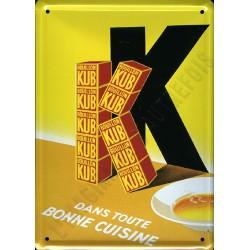 Plaque métal publicitaire 15x21cm bombée : Bouillon KUB