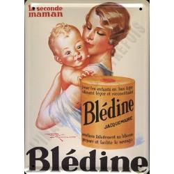 Plaque métal publicitaire 15x21cm bombée :  Blédine Jacquemaire.