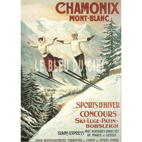 Plaque métal publicitaire 15x21cm plate : Chamonix Mont-Blanc