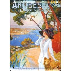 Plaque métal publicitaire 15x21cm plate : ANTIBES Côte d'azur.