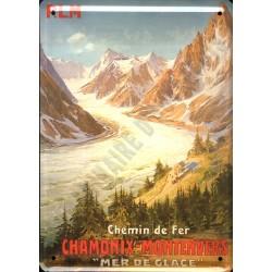 Plaque métal publicitaire 15x21cm bombée :  CHAMONIX-MONTENVERS