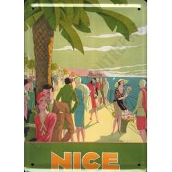 Plaque métal publicitaire 15x21cm plate :  NICE PROMENADE