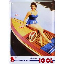 plaque métal publicitaire plate 15 x 21cm : Huiles IGOL.