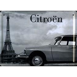 plaque métal publicitaire plate 15 x 21cm : Citroën DS.