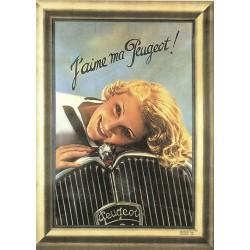 plaque métal publicitaire bombée   15 x 21cm :  J'aime ma Peugeot.
