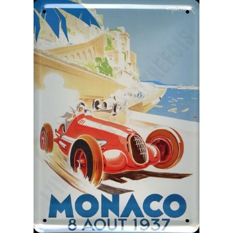 plaque métal publicitaire plate  15 x 21cm : MONACO 8 AOÛT 1937.