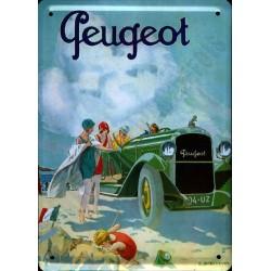 plaque métal publicitaire bombée 15 x 21cm :  Automobile PEUGEOT.