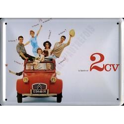 plaque métal publicitaire plate 15 x 21cm : CITROËN 2CV.