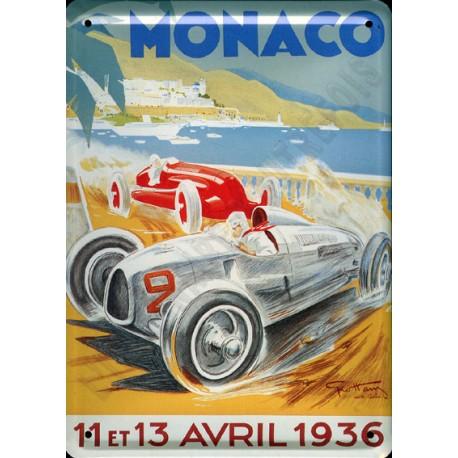plaque métal publicitaire plate  15 x 21cm : MONACO 11 et  13 AVRIL 1936.