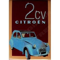 plaque métal publicitaire bombée   15 x 21cm :  Citroën  2CV.