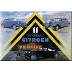 plaque métal publicitaire plate 15 x 21cm : Citroën traction 11.