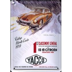 plaque métal publicitaire plate  15 x 21cm : DS  Rallye de MONTE-CARLO 1959.