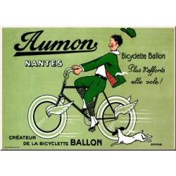 plaque métal publicitaire bombée   15 x 21cm :  Bicyclette BALLON