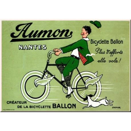 plaque métal publicitaire bombée   15 x 21cm :  Bicyclette BALLON.