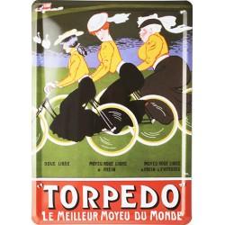 plaque métal publicitaire plate 15 x 21cm : TORPEDO.