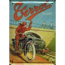 plaque métal publicitaire plate  15 x 21cm : Cycles et Motocycles TERROT.