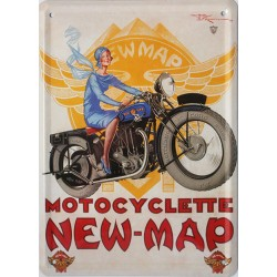 plaque métal publicitaire plate 15 x 21cm : Motocyclette NEW-MAP.