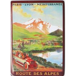 plaque métal publicitaire 15x21cm bombée : Route des Alpes.