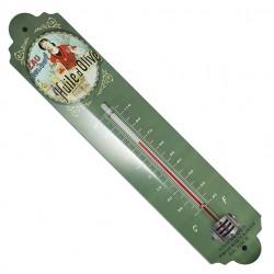Thermomètre métal bombé hauteur 30 cm :  HUILE D'OLIVE.