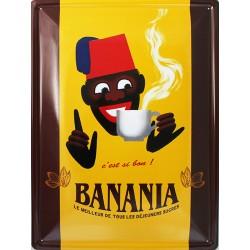 Plaque métal publicitaire 30 x 40 cm bombée  :  BANANIA C'EST SI BON.