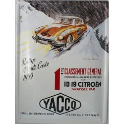 Plaque métal publicitaire bombée 30 x 40 cm : ID 19 Citroën Rallye Monte-Carlo 1959.