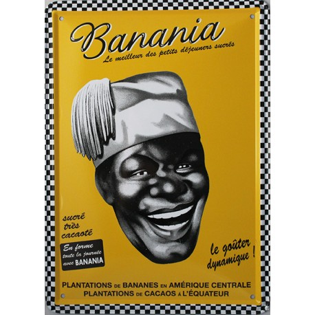 Plaque métal  publicitaire 15x21cm  plate : Banania le goûter dynamique.