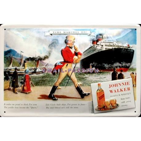 Plaque métal publicitaire 20x30cm bombée en relief  : JOHNNIE WALKER.