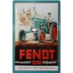 Plaque publicitaire 20x30cm bombée en relief : Tracteur FENDT 12PS.