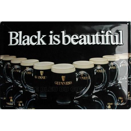 Plaque métal publicitaire 20x30cm cm bombée en relief : GUINNESS Black is Beautiful.
