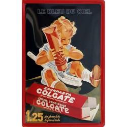 Plaque métal publicitaire 20x30 cm bombée en relief :  Dentifrice Colgate