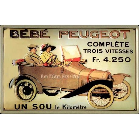Plaque métal publicitaire bombée en relief  20x30cm  : BÉBÉ PEUGEOT.