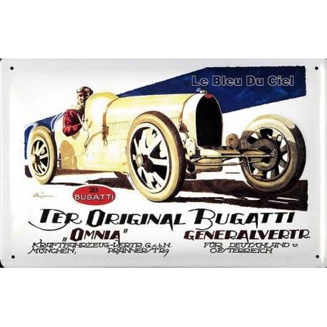 Plaque métal publicitaire 20 x 30 cm bombée en relief  : BUGATTI.