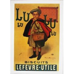 Pour votre décoration intérieure, Affiche publicitaire dim : 50x70cm : Enfant LU biscuits Lefèvre Utile