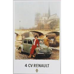 Affiche publicitaire à partir d'un calendrier dim : 18 x 28cm : PARIS 4CV