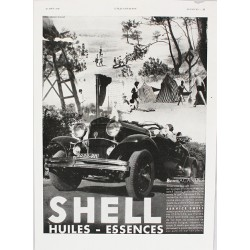 Affiche publicitaire N&B l'illustration dim : 26x36cm SHELL HUILES-ESSENCES