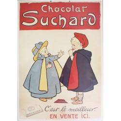 Affiche publicitaire cartonnée dim : 50x70cm épaisseur 3mn : CHOCOLAT SUCHARD.