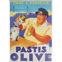 Affiche publicitaire cartonnée dim : 50x70cm épaisseur 3mn : PASTIS OLIVE.