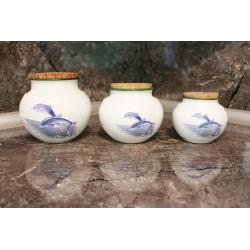 Lot de 3 pots décor Dauphins.