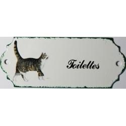 Plaque de porte émaillée décor chat : Toilettes