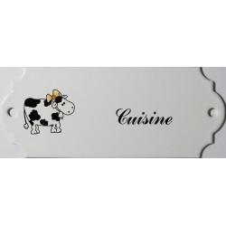 Plaque de porte émaillée décor vache : Cuisine