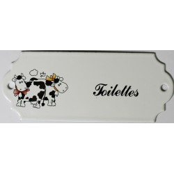 Plaque de porte émaillée décor vache :  Toilettes